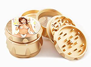 "Asian Girl Design Premium Grade Aluminum Tobacco,Herb Grinder -4Pcs Large (2.5"" Gold) # GLD-G121114-0037"