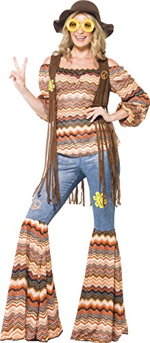 Smiffy's Women's Harmony Hippie Costume, Top, Flares and Waistcoat, 70 Disco, Serious Fun, Plus Size 18-20, 43856