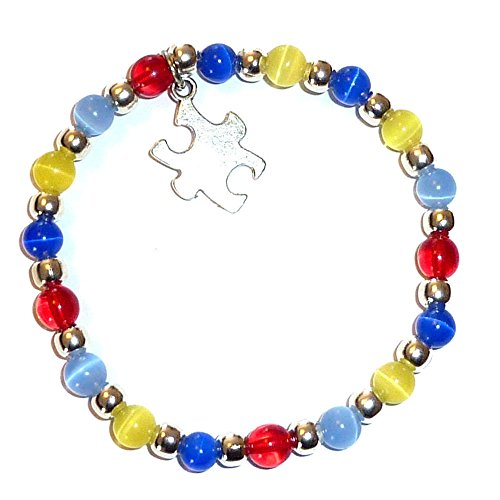 Autism Awareness Bracelet, Adult size, Comes packaged (Stretch (Fits Most Adults)) -