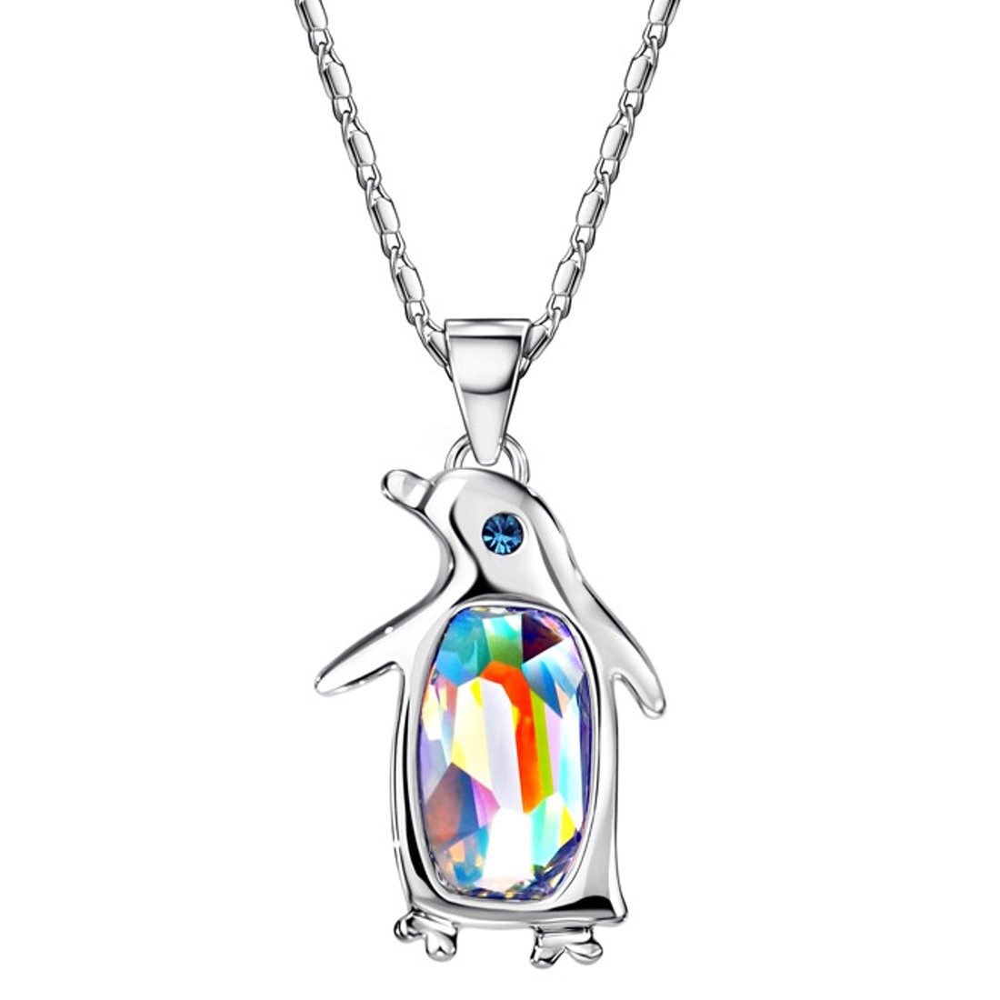 Neoglory Jewelry Aurora Borealis Crystal Penguin Birthstone Pendant Necklace Embellished with Crystals from Swarovski