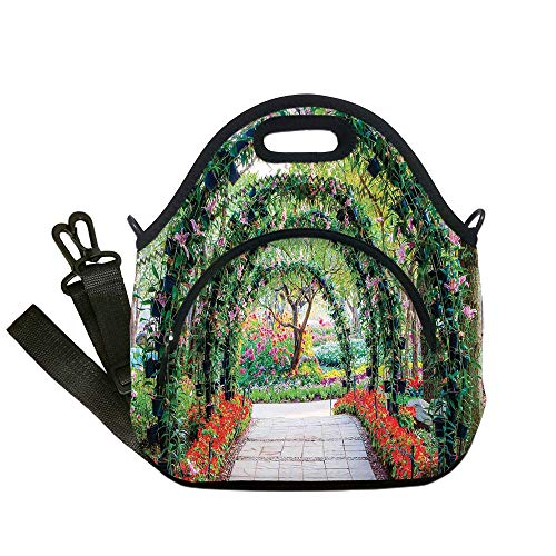 Insulated Lunch Bag,Neoprene Lunch Tote Bags,Country Home Decor,Flower Arches with Pathway in Ornamental Plants Garden Greenery Romantic Picture,Green Red,for Adults and children from iPrint