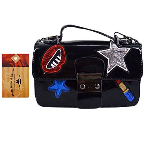 ZLM BAG US Women Fashion Patch Sticker Clutch Purse Bag Tote Handbag PU Chain Crossbody Shoulder Bag Black (Patch Utility Bag)