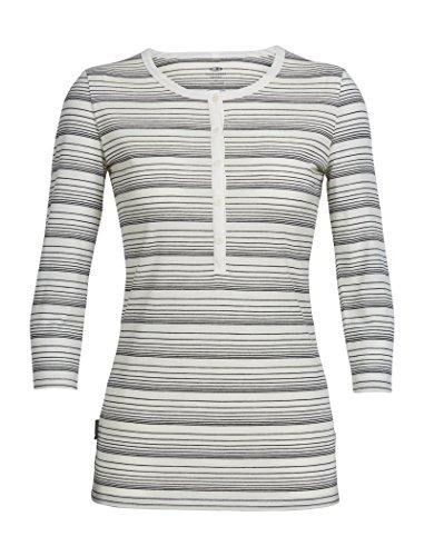 Icebreaker Merino Women's Tech Lite 3/4 Sleeve Henley Stripe T-Shirt, Snow/BLACK/STRIPE, Small