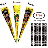3Pcs Temporary India Paste Cone Tattoo Set Temporary Tattoo Body Art and Painting Bundle Natural Organic Fresh Authentic Ink Paste with 60Pcs Free Stencil Designs