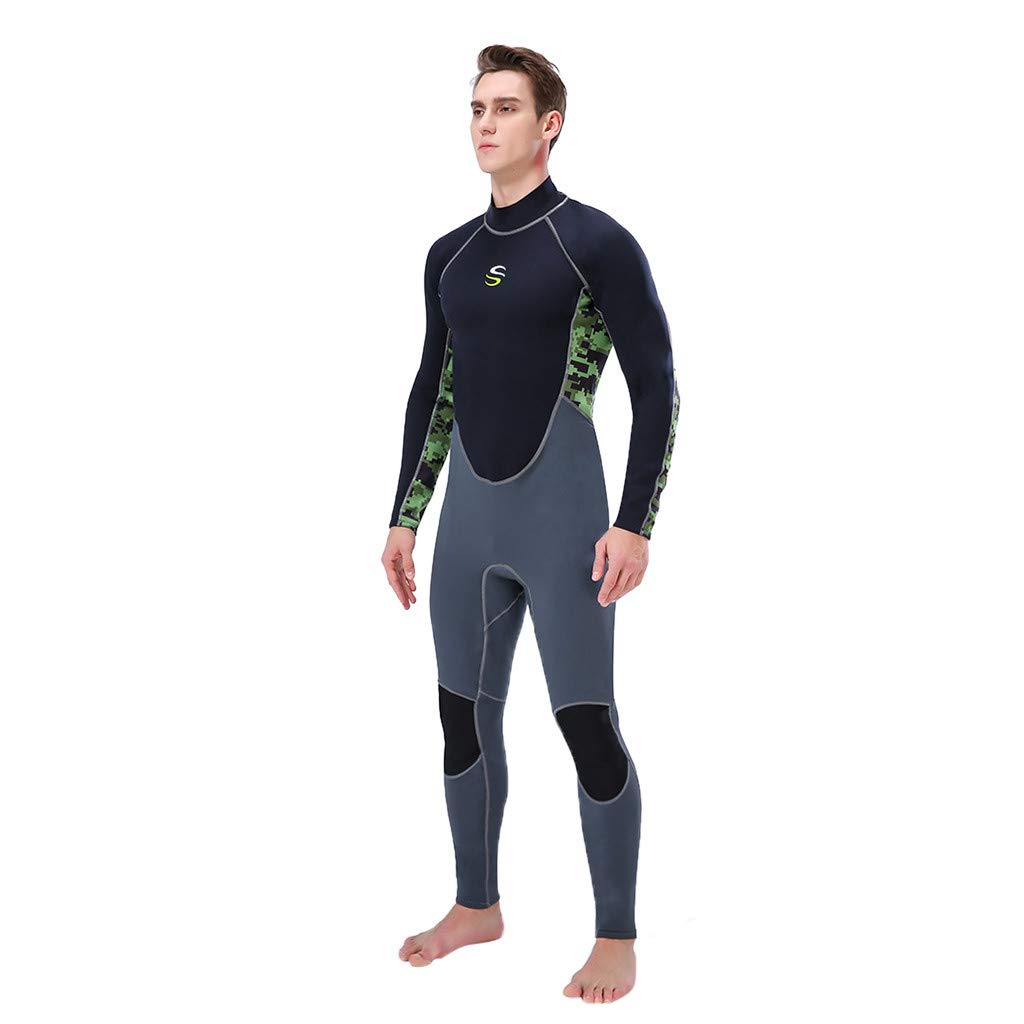 CHLZYD Men Wetsuit 3MM Full Body Suit Super Stretch Suit Swim Surf Surfing Diving Snorkeling Army Green by CHLZYD