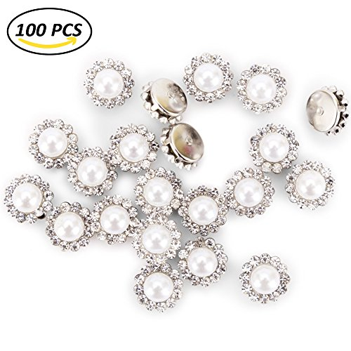 100Pcs Crystal Pearl Buttons, Round Flatback Rhinestone Beads Buttons with Diamond, DIY