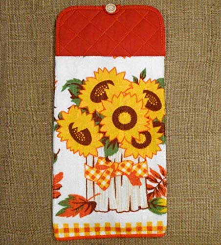 Fall Sunflower and Leaves Microfiber Hanging Dish Towel, Autumn Kitchen Decor