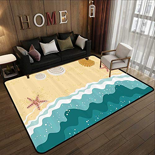 Kids Rugs,Ocean,Sea Waves Sandy Beach with Starfish Shell Oyster Figures Exotic Holiday Picture,Sand Brown Teal 47