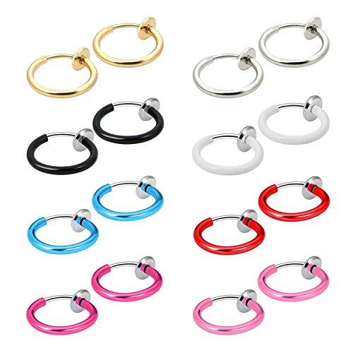 JewelrieShop Fake Nose Ring Hoop, Clip On Earrings Fake Septum Non Piercing Spring Hoop Earrings Fake Cartilage Earrings for Women Girl - 6,9,16 -