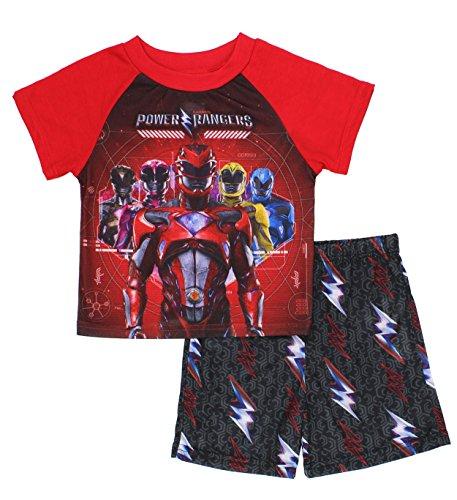 Power Rangers Boys Shorts Pajamas Set (4, Power Rangers Red) (Power Rangers Kids Pajamas)