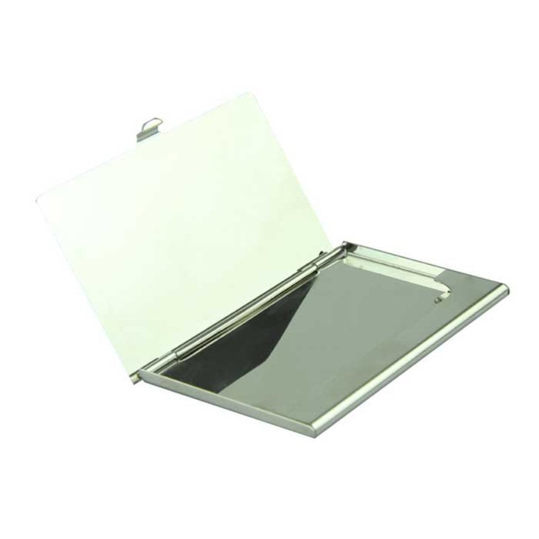 Voberry Voberry Silver Business Card Holder - Flip Style - Metal Business Card Holder Clip Flip Holder ID Card Holder