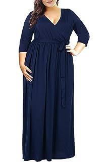 fa37ced026d Nemidor Women s 3 4 Sleeve Floral Print Plus Size Casual Party Maxi Dress