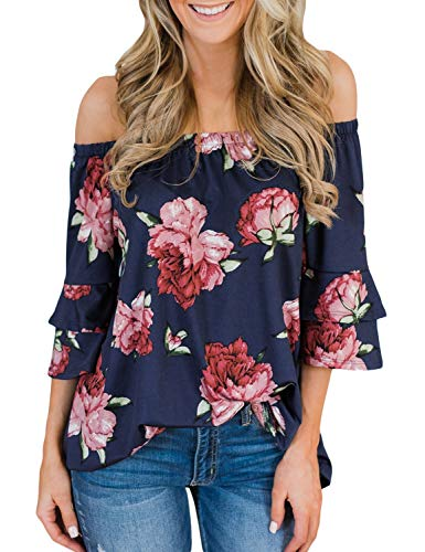 Tiered Sleeve Top - LookbookStore Women's Summer Off The Shoulder Navy Floral Print Blouse 3/4 Tiered Sleeves Tops Shirt Size XL 16 18