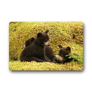 Diseño creativo negro familia de osos en el bosque Decoración del hogar Puerta esteras Felpudo Alfombrilla 23,6(L) X 15,7(W) suciedad Buster