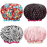 Shower Caps 4 Pack Bath Caps Perfect for Women All Hair Lengths and Thicknesses - Waterproof - Double Layer, Upgraded Version