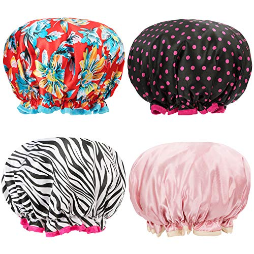Shower Caps 4 Pack Bath Caps Perfect for Women most Hair Lengths and Thicknesses - Waterproof - Double Layer, Upgraded Version (Flower Red + Rose Dot Black+ Zebra pattern+ Pink)