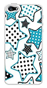 Blue Polka Dots Stars Snap-On Cover Hard Plastic Case for iPhone 5/5S (White) by heywan