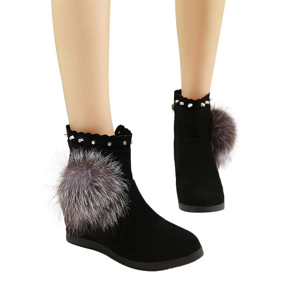 Winter Snow Boots Side Zipper Short Boots Flat Shoes Inkach Women Suede Wedges Ankle Booties