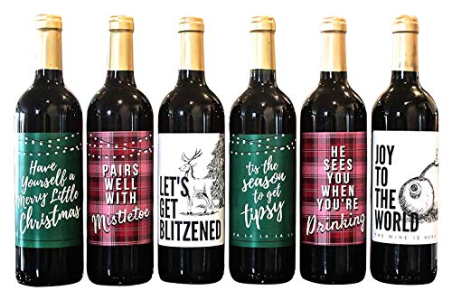 Wine Bottle Labels for Christmas Party Decorations and Favors - Perfect for Holiday Party and Gifts for Teachers, Family, and Friends, Plaid Designs, Set of 6