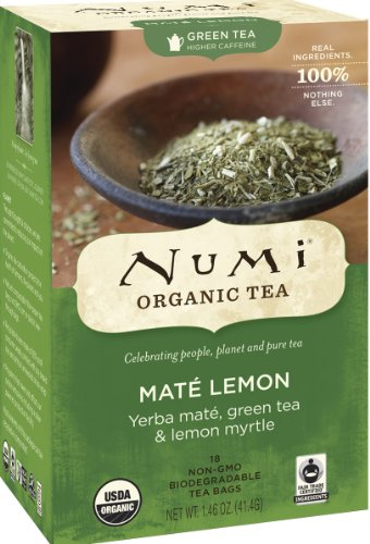 Numi Organic Tea Mate Lemon, 18 Count Box of Tea Bags (Pack of 2) Yerba Mate Green Tea Blend
