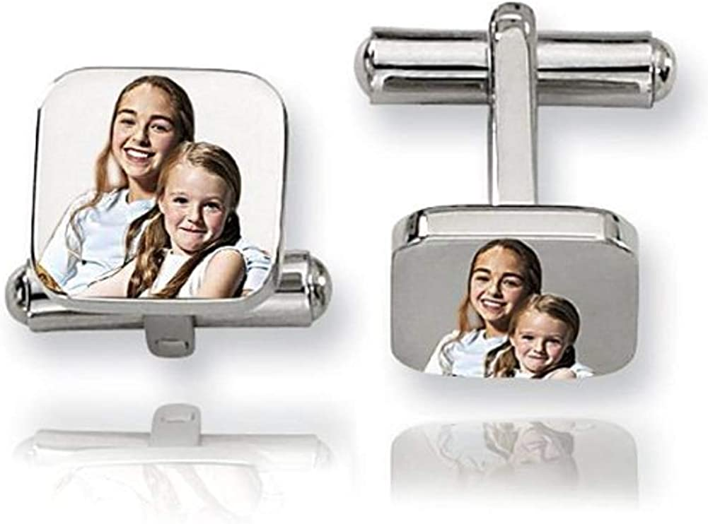 3//4 Inch X 3//4 Inch PicturesOnGold.com Square Stainless Steel Photo Engravable Cufflinks Stainless Steel Cufflinks