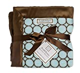 SwaddleDesigns Stroller Blanket, Cozy Microfleece, Brown Mod Circles on Pastel Blue with Satin Trim