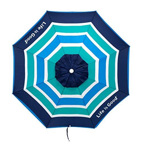 Life is Good ALIGUMB-GB-1PK Beach Umbrella with Sand Anchor, Towel Hook, and Tilting Pole, Green/Blue