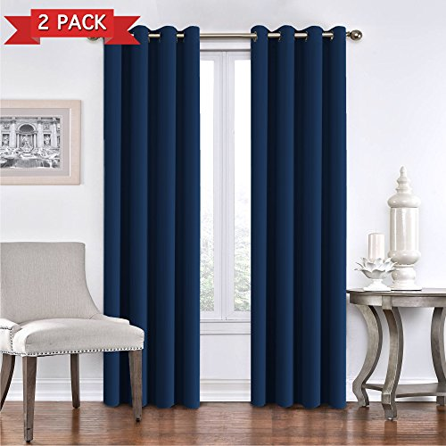 Flamingo P Blackout Curtain Panels for Bedroom - Window Treatment Energy Saving Curtain Drapes Thermal Insulated Solid Grommet Blackout Draperies for Living Room/Patio (Set of 2, 52 x 96 Inch, Navy)