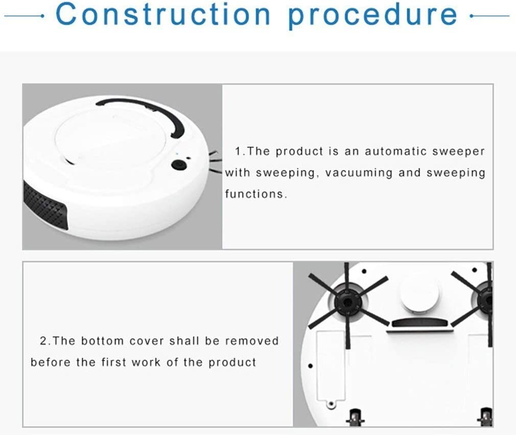 LXRZLS Multifonction Intelligent Sol Aspirateur Robot 3-in-1 Auto Rechargeable Intelligent Balayer Robot Aspirateur à Sec Balayage Humide (Color : White) Black