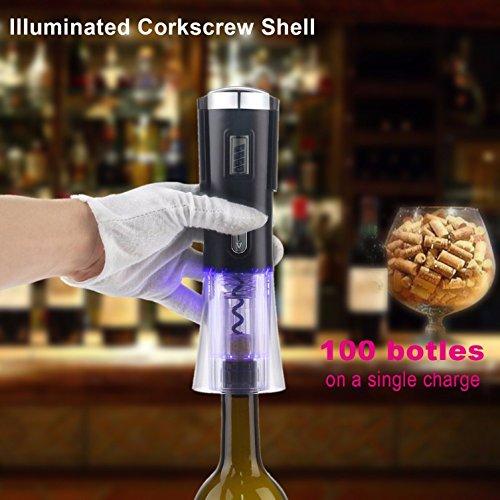 (1 Pc Electric Wine Removable Foil Cutter Stopper Elegant Black USB Charger Bottle Opener Keychain Key Ring Chains Wrist Holder Strap Dashing Popular Beer Openers Corkscrew Catcher Utility Pocket )