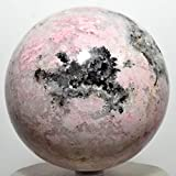 Large 2.4lb 3.5'' Pink Rhodochrosite Sphere Natural White Druzy Extra Grade Rhodocrosite Mineral Ball Polished Crystal Love Stone - Peru + Plastic Stand