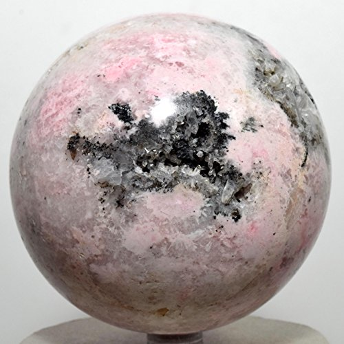 Large 2.4lb 3.5'' Pink Rhodochrosite Sphere Natural White Druzy Extra Grade Rhodocrosite Mineral Ball Polished Crystal Love Stone - Peru + Plastic Stand by HQRP-Crystal