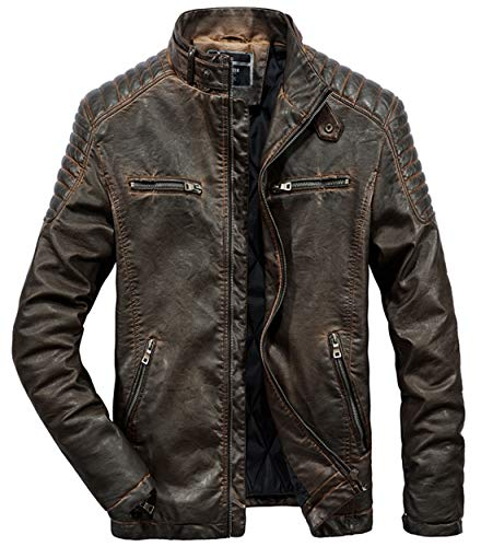 (Itemnew Men's Retro Belted Collar Zip Distressed Moto Faux Leather Biker Jacket (Large, Brown))