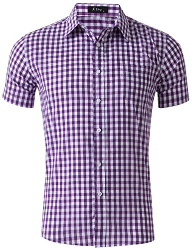 XI PENG Men's Casual Cotton Plaid Checkered Gingham Short Sleeve Dress Shirts (Purple Check, Large)