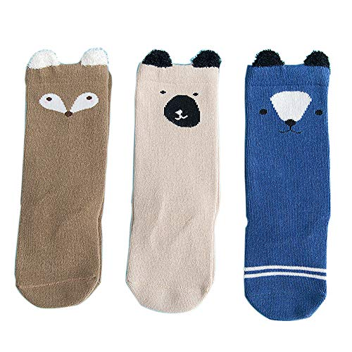 FQIAO Baby Socks 0-6 Month 3Packs XXS Size Cartoon Middle Tube Cotton Breathable for Autumn Winter