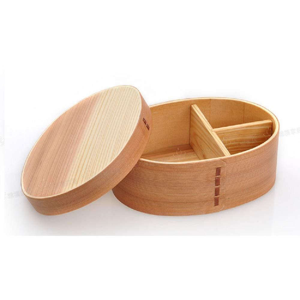 木製の弁当箱ポータブルランチケース別れた食品収納ケース屋外ピクニックランチボックス (Color : WOODEN, Size : L) B07Q6PLNV2 WOODEN Large