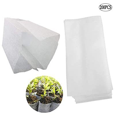 Non-Woven Nursery Bags Plants Grow Bags 200 PCS Biodegradable Seed Starter Bags Fabric Seedling Pots/Bag Plants Pouch Home Garden Supply (14x16cm) : Garden & Outdoor