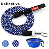 FAYOGOO Dog Leash Pet Rope Leash - 6 Feet Reflective Nylon Braided Dog Training Leash Soft Handle - Heavy Duty Long Walking Leash Medium Large Dogs Collapsible Silicone Pet Bowl