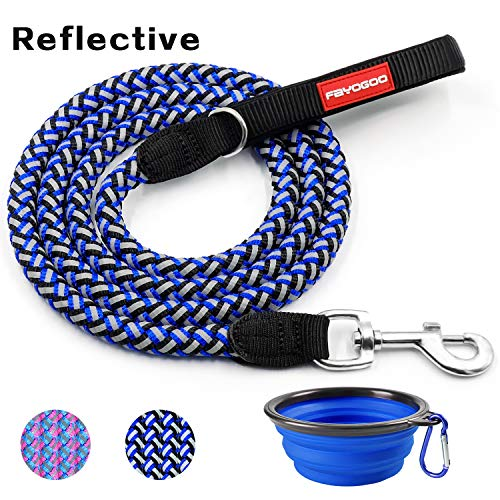 FAYOGOO Dog Leash Pet Rope Leash - 6 Feet Reflective Nylon Braided Dog Training Leash with Soft Handle - Heavy Duty and Long Walking Leash for Medium Large Dogs - (Lead Nylon Reflective Leash)