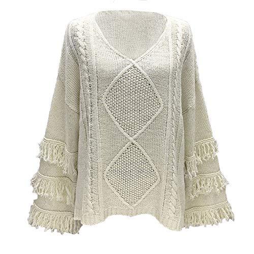 AOJIAN Blouse Women Long Sleeve T Shirt Knitted Tassel Sweater Tunic Tank Shirts Tops at Amazon Womens Clothing store: