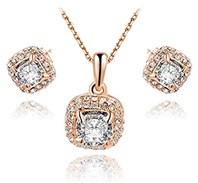 TIDOO Jewelry Fashion Womens Vintage Rose Gold Plated Earring Necklace Jewelry Sets Big Austrian Crystal And Cubic Zicons 100% Man-made Trendy Elegance ,Best Gift For Mother's Day Lover Party Wedding Anniversary Engagement Valentine's Day And Christmas