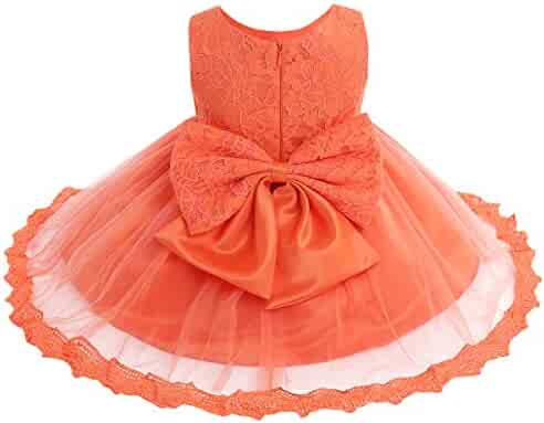1e7d5792e91 iEFiEL Baby Girls Lace Bowknot Flower Dress Wedding Pageant Baptism  Christening Tutu Gown