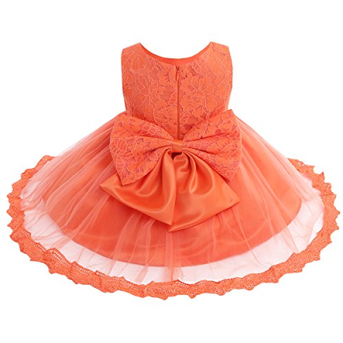 TiaoBug Baby Girls Flower Wedding Pageant Princess Bowknot Communion Party Dress Orange(Lace) 6-9 Months