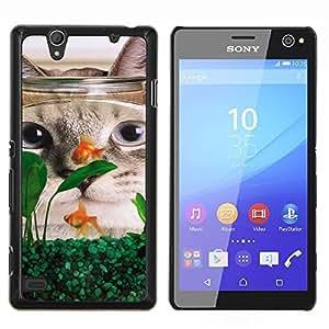Americano de Pelo Corto Rizo divertido de los pescados del gato- Metal de aluminio y de plástico duro Caja del teléfono - Negro - Sony Xperia C4 E5303 E5306 E5353