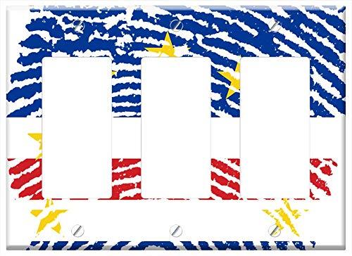 Switch Plate Triple Rocker/GFCI - Cabo Verde Flag Fingerprint Country Pride Identity