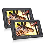 """NAVISKAUTO 10.1"""" Portable DVD Player for Car Dual Screen, Headrest Video Player with 5-Hour Built-in Rechargeable Battery, Last Memory and Region Free"""