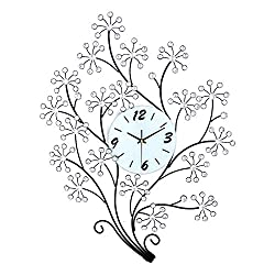 Magshion 3D Large Flower Tree Crystal Iron Wall Clock W/ Wall Hooks Large 30.7L 23.6W Decorative