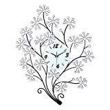Magshion 3D Large Flower Tree Crystal Iron Wall Clock W/ Wall Hooks Large 30.7″L 23.6″W Decorative Review