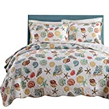 Coral Ocean Bedding Quilt Set Queen Cotton Patchwork Quilt Bedspread Set Full Seashells Beach Print Kids Quilt Set Super Soft Boys Girls Quilt Comforter Set Queen Size with 2 Pillow Shams, Style1