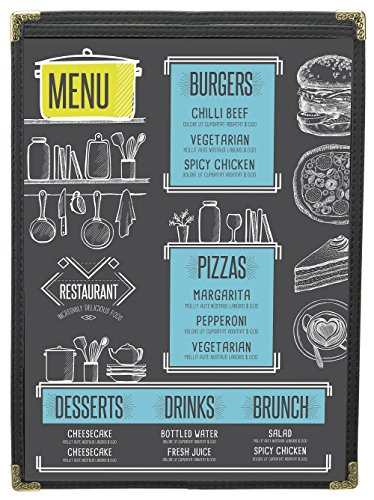 MenuCoverMan • Case of 25 Menu Covers • BETTER QUALITY #3191 BLACK SINGLE PANEL - 2-VIEW - 11